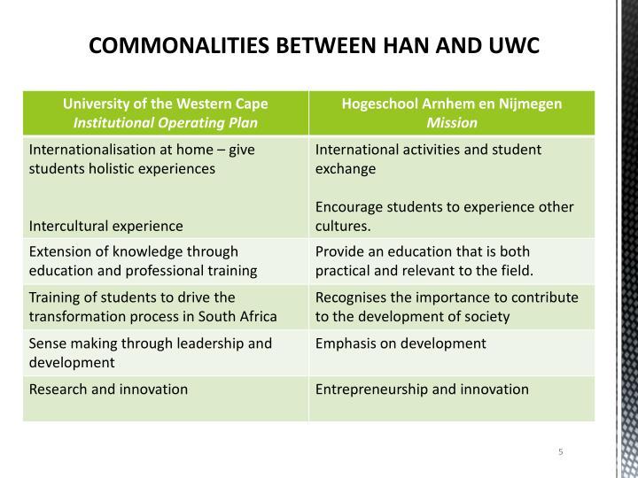 COMMONALITIES BETWEEN HAN AND UWC