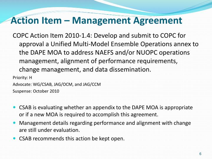 Action Item – Management Agreement