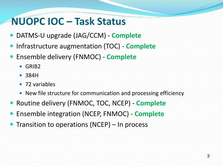 NUOPC IOC – Task Status