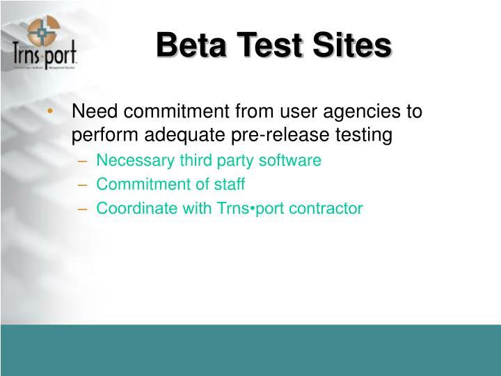 Beta Test Sites