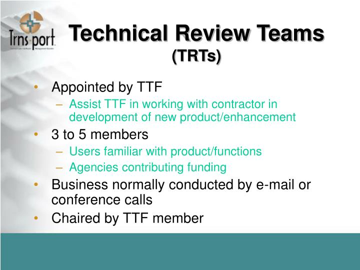 Technical Review Teams