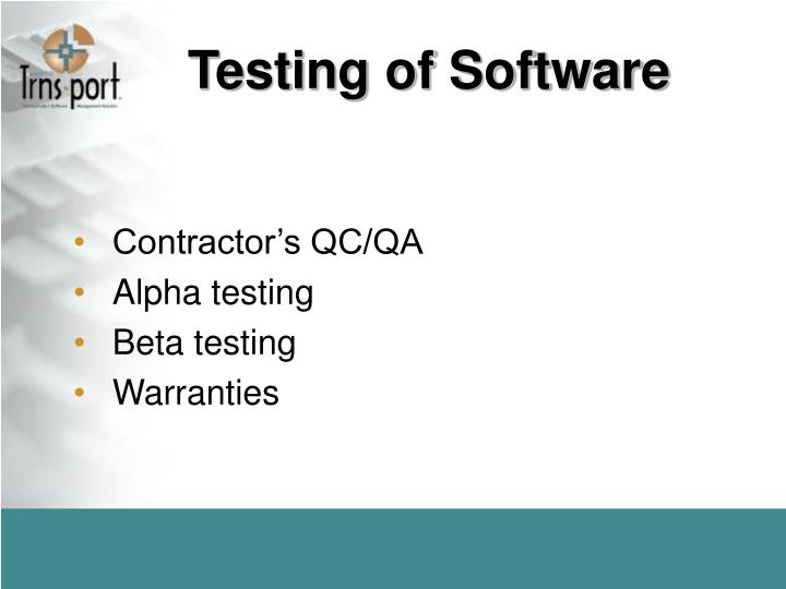 Testing of Software