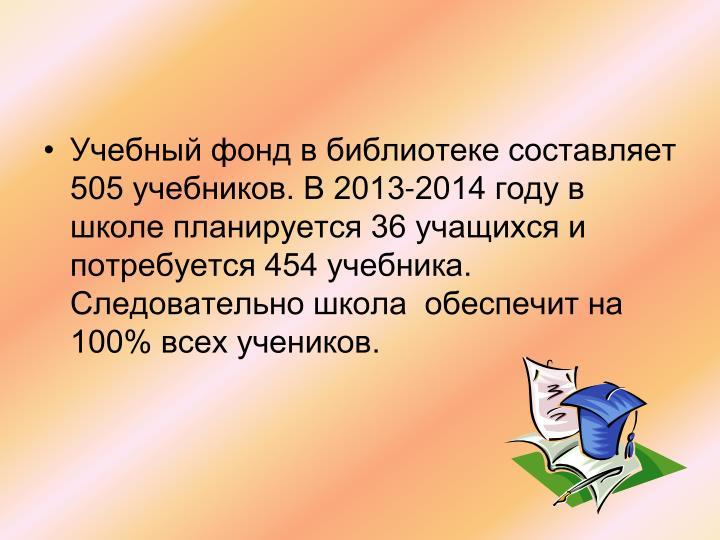 Учебный фонд в библиотеке составляет 505 учебников. В 2013-2014 году в школе планируется 36 учащихся и потребуется 454 учебника. Следовательно школа  обеспечит на 100% всех учеников.