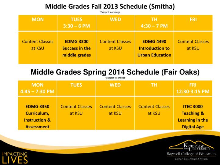 Middle Grades Fall 2013 Schedule (