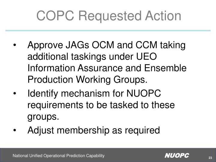 COPC Requested Action