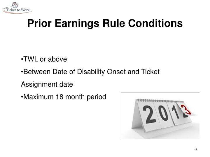 Prior Earnings Rule Conditions
