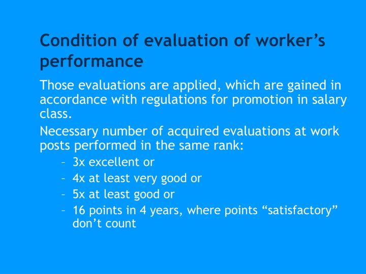 Condition of evaluation of worker's performance