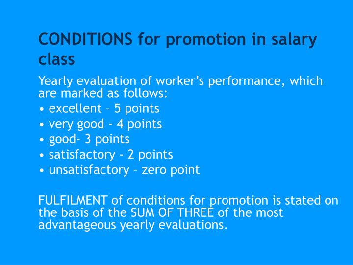 CONDITIONS for promotion in salary class