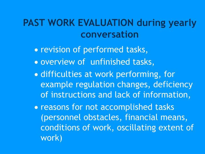 PAST WORK EVALUATION during yearly conversation