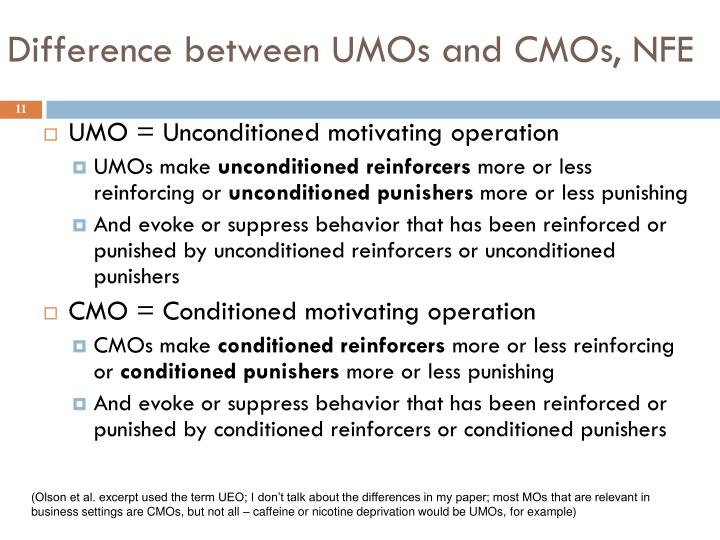 Difference between UMOs and CMOs, NFE