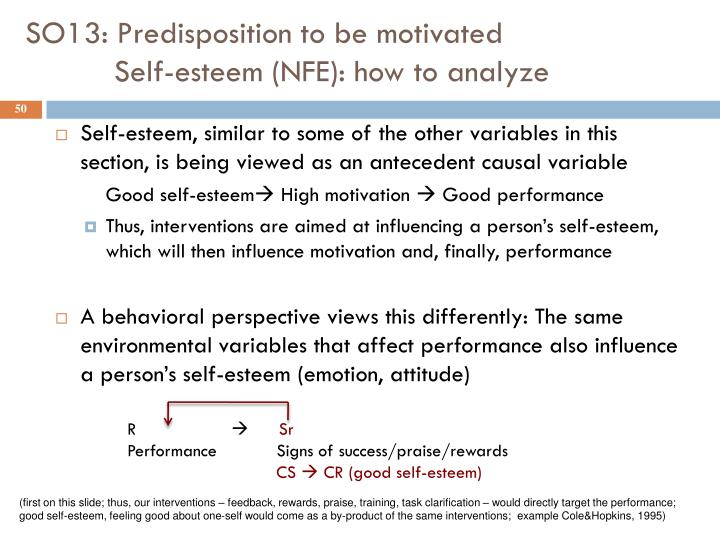 SO13: Predisposition to be motivated