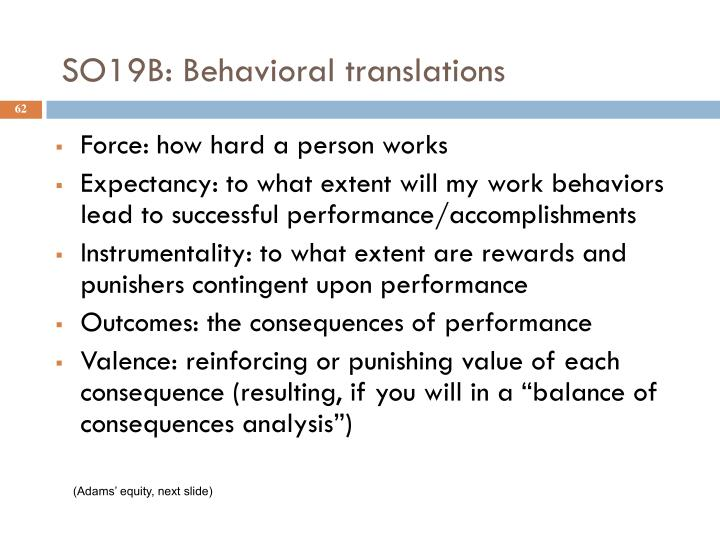 SO19B: Behavioral translations