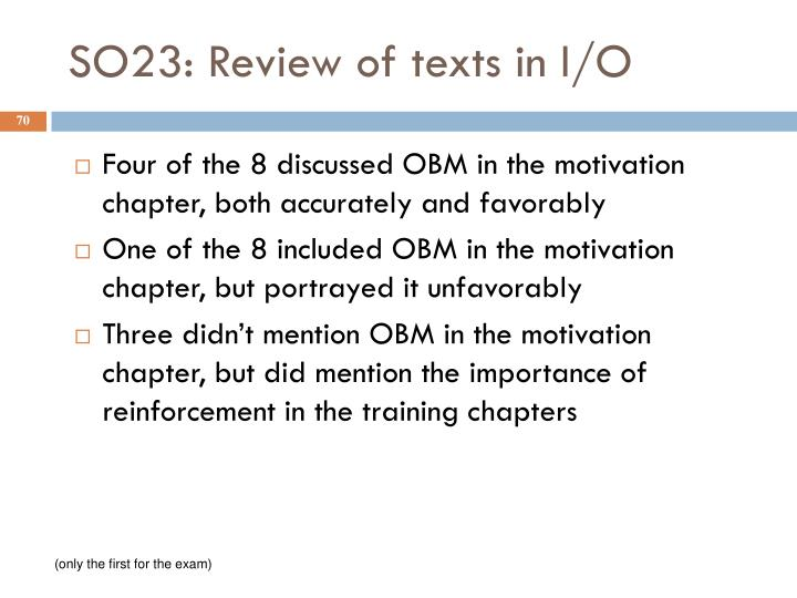 SO23: Review of texts in I/O