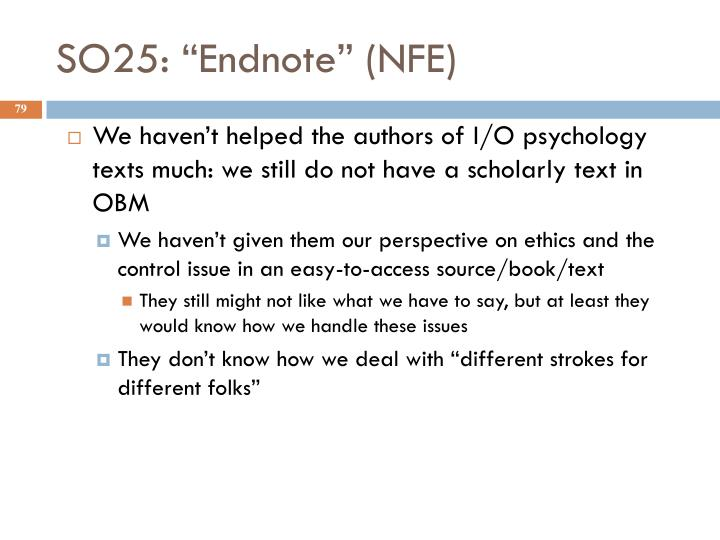 """SO25: """"Endnote"""" (NFE)"""