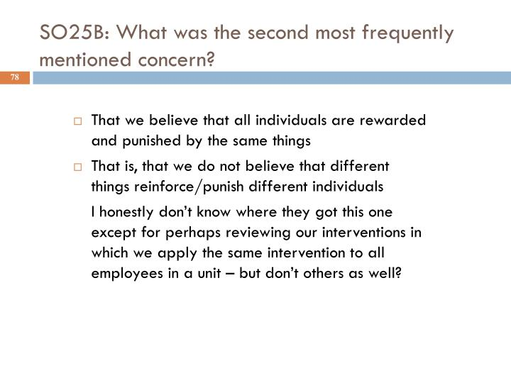 SO25B: What was the second most frequently mentioned concern?