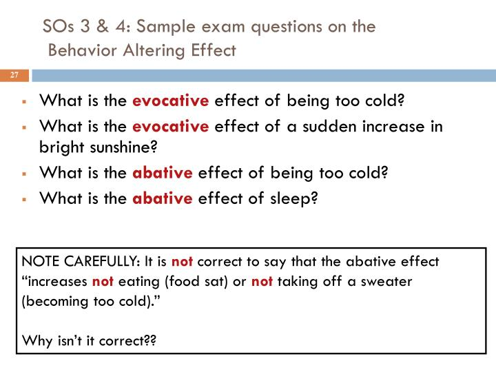 SOs 3 & 4: Sample exam questions on the