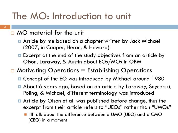 The MO: Introduction to unit