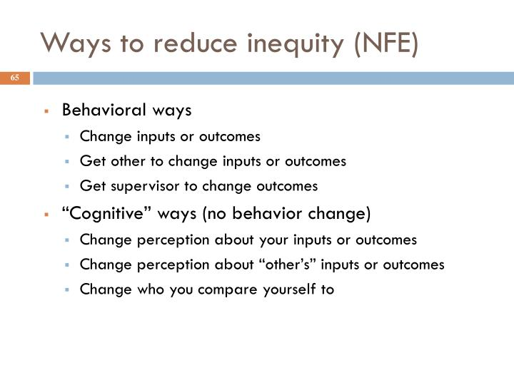 Ways to reduce inequity (NFE)