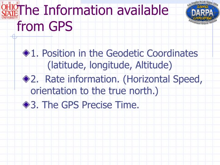The Information available from GPS