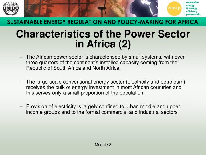 Characteristics of the Power Sector in Africa (2)