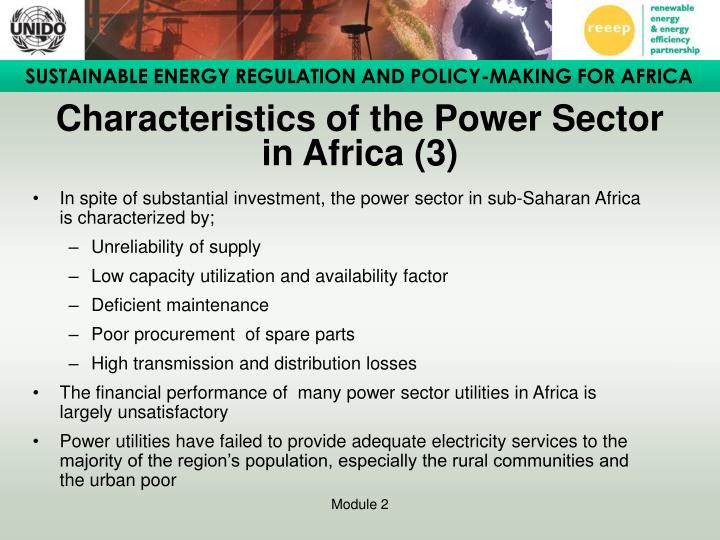 Characteristics of the Power Sector in Africa (3)