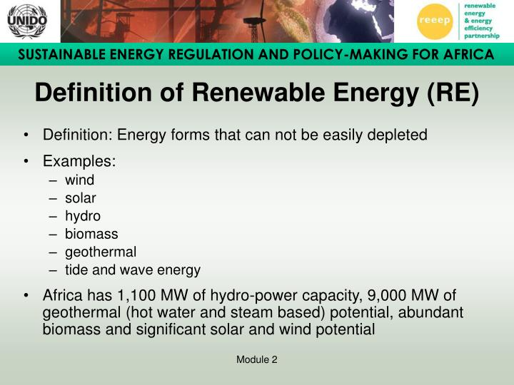 Definition of Renewable Energy (RE)