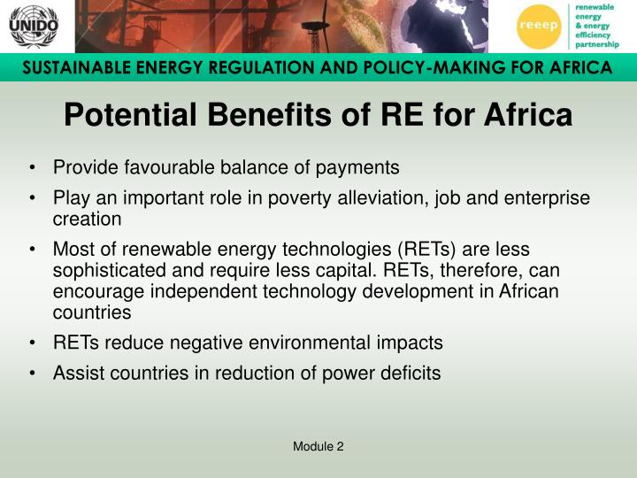Potential Benefits of RE for Africa