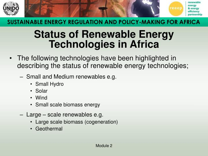 Status of Renewable Energy Technologies in Africa