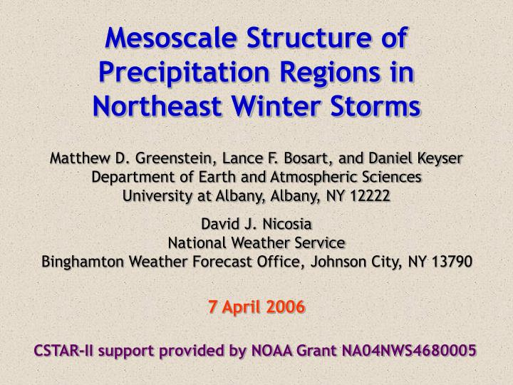 Mesoscale Structure of