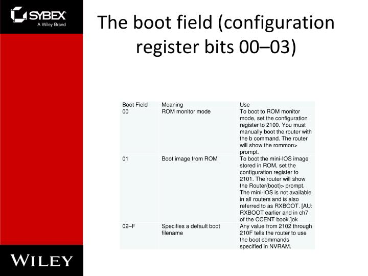 The boot field (configuration register bits 00–03)