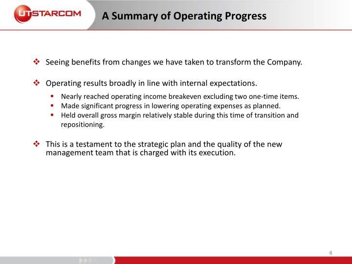 A Summary of Operating Progress