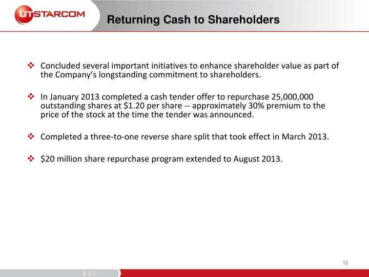 Concluded several important initiatives to enhance shareholder value as part of the Company's longstanding commitment to shareholders.