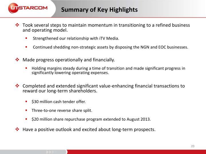 Summary of Key Highlights