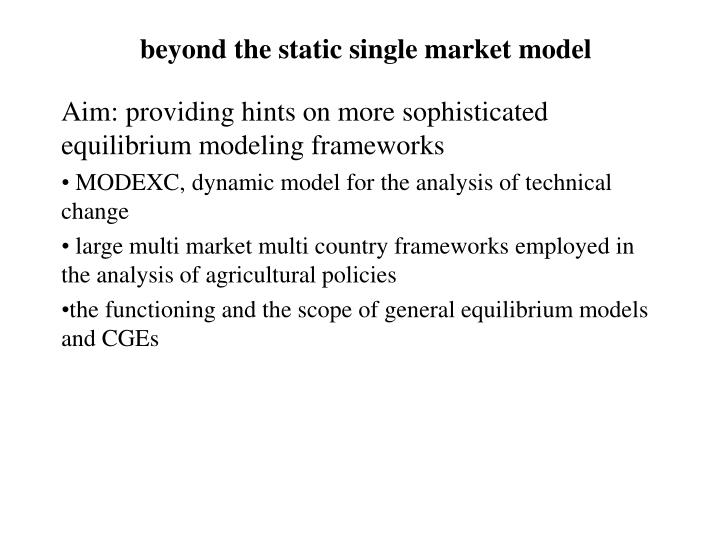 beyond the static single market model
