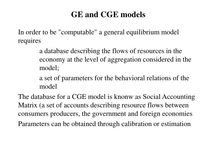 GE and CGE models