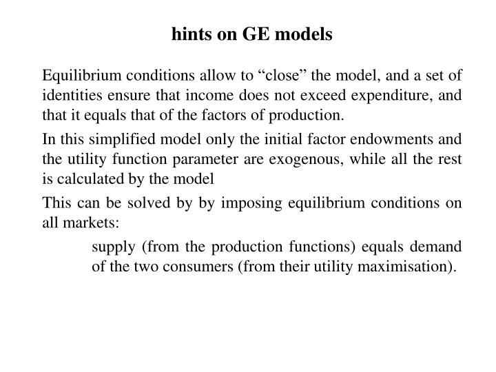 hints on GE models