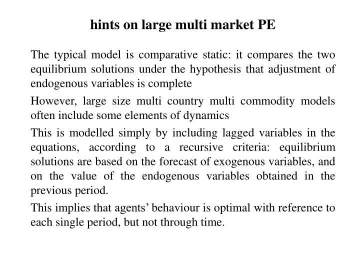 hints on large multi market PE