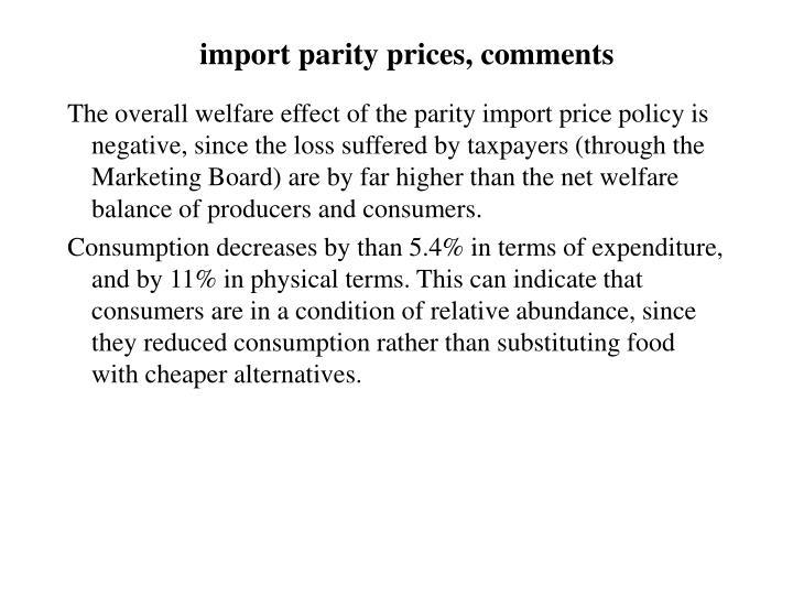 import parity prices