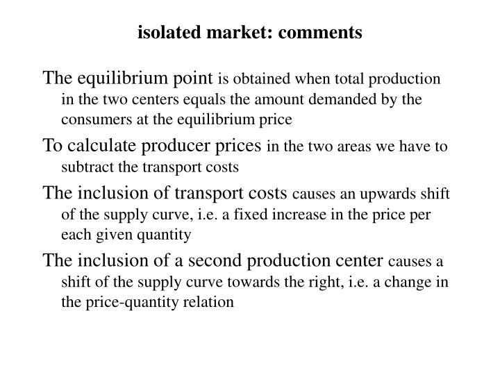 isolated market: comments
