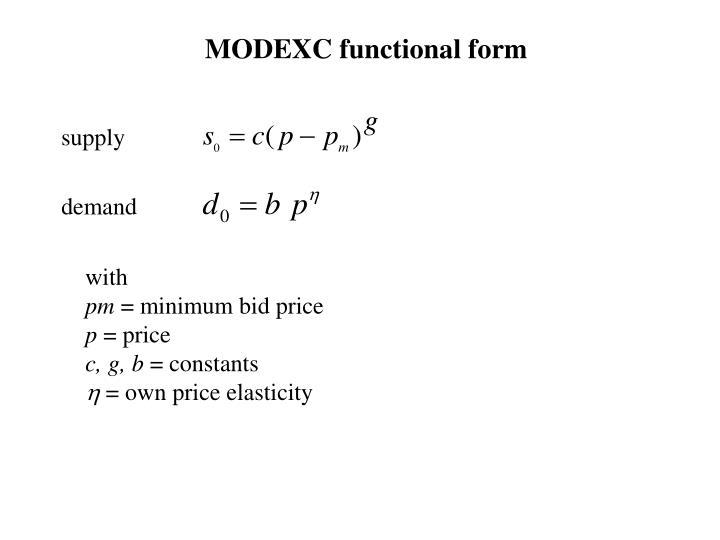 MODEXC functional form