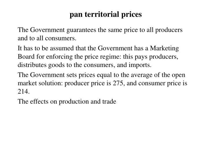 pan territorial prices