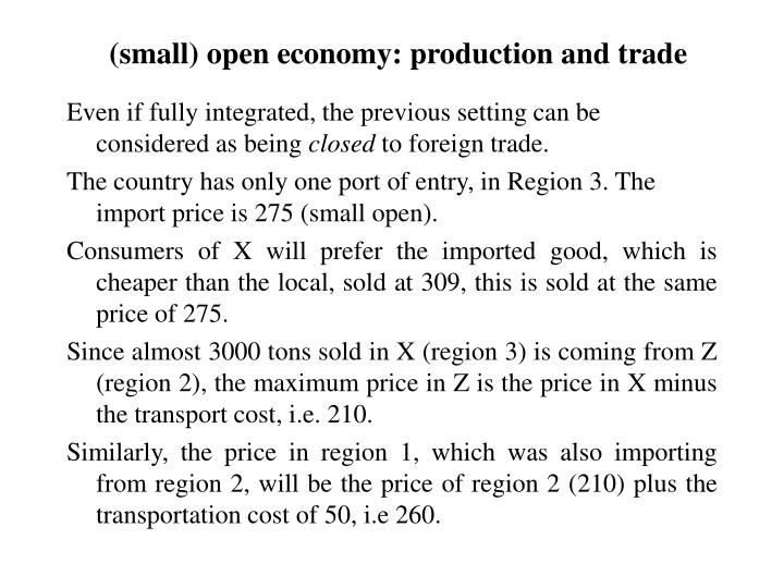 (small) open economy: production and trade