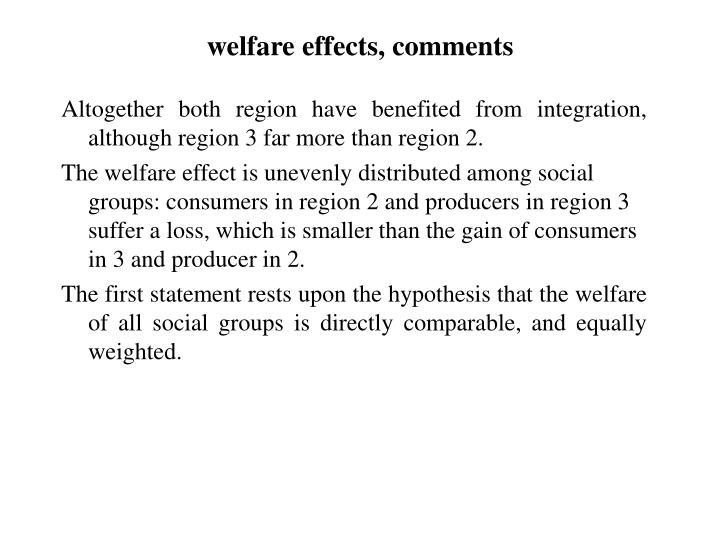 welfare effects, comments