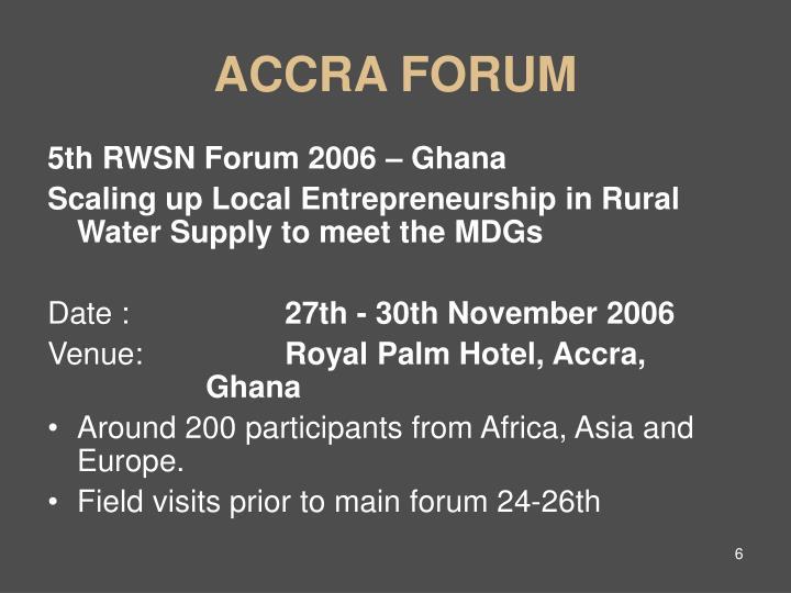 ACCRA FORUM