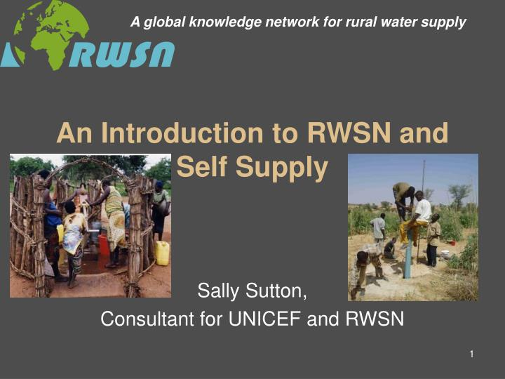 A global knowledge network for rural water supply