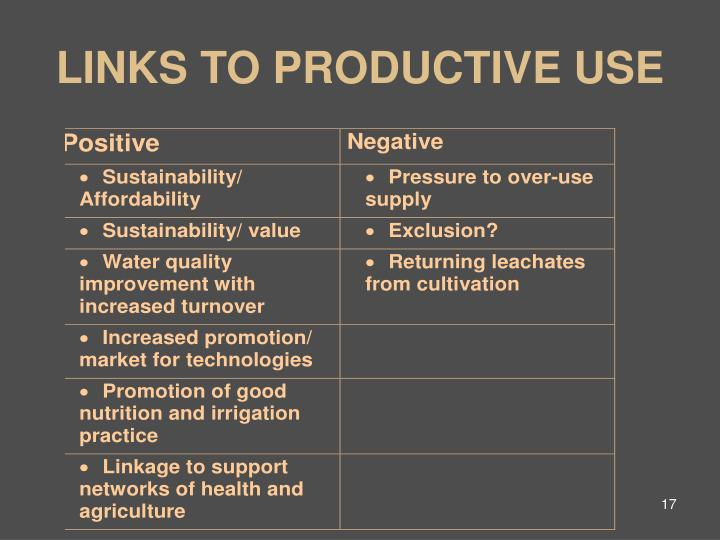 LINKS TO PRODUCTIVE USE