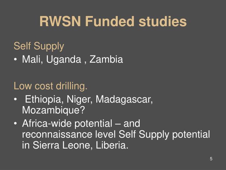 RWSN Funded studies