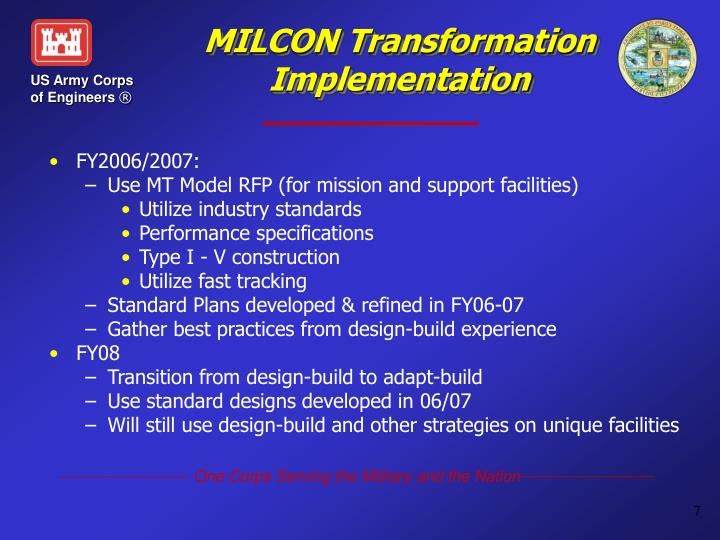 MILCON Transformation