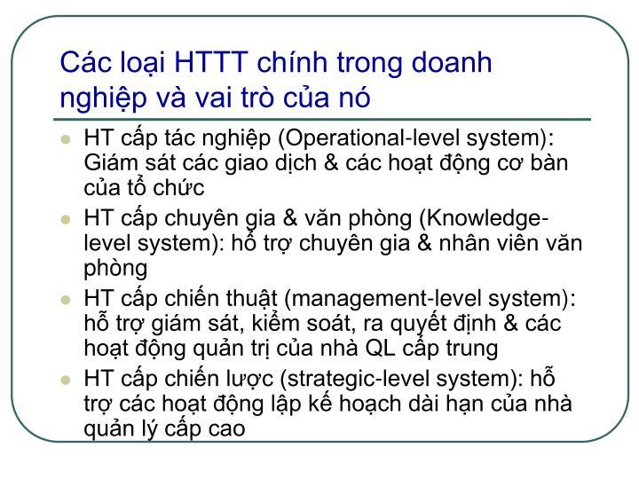 Các loại HTTT chính trong doanh nghiệp và vai trò của nó