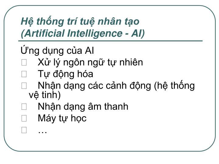 Hệ thống trí tuệ nhân tạo